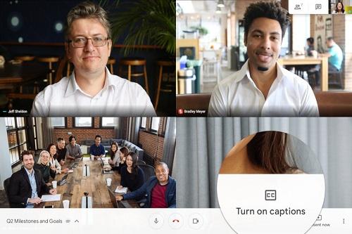 Hangouts Meet زیرنویس زنده گوگل Live Captions اندروید