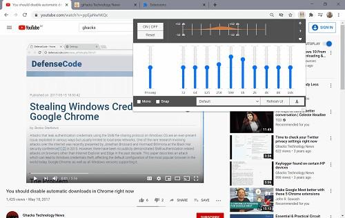 مایکروسافت اج مایکروسافت Audio Equalizer کروم افزونه