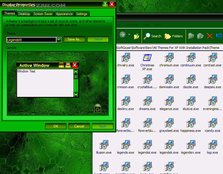 The 40 Themes For XP With Installation Pack تصاویر نرم افزار  - سافت گذر