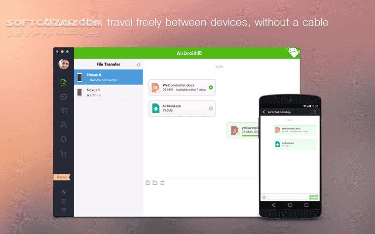 AirDroid 4 2 4 2 Windows Client 3 6 3 for Android 4 0 تصاویر نرم افزار  - سافت گذر