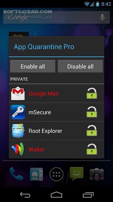 App Quarantine Pro ROOT FREEZE 2 9 for Android تصاویر نرم افزار  - سافت گذر