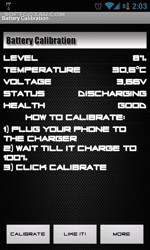 Battery Calibration 2 5 3 for Android 2 1 تصاویر نرم افزار  - سافت گذر