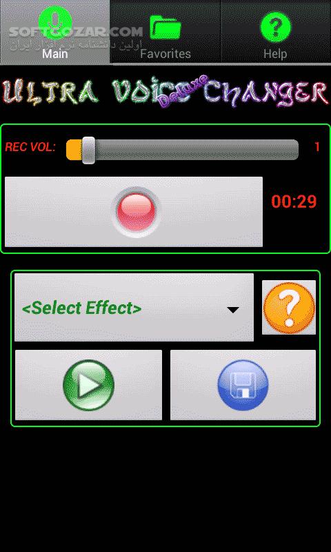 Ultra Voice Changer 1 22 for Android 2 3 تصاویر نرم افزار  - سافت گذر