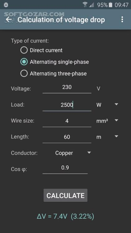 Electrical calculations Pro 7 0 1 For Android 2 3 تصاویر نرم افزار  - سافت گذر