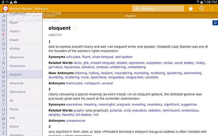 Merriam Webster Premium 3 3 1 for Android 4 0 تصاویر نرم افزار  - سافت گذر
