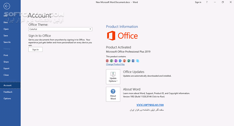 Office 2019 Pro Plus 1904 Build 11601 20204 inc Project Pro Vision Pro تصاویر نرم افزار  - سافت گذر