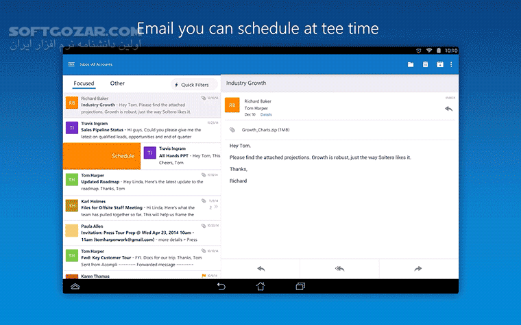 Microsoft Outlook 4 1 1 for Android 4 0 تصاویر نرم افزار  - سافت گذر