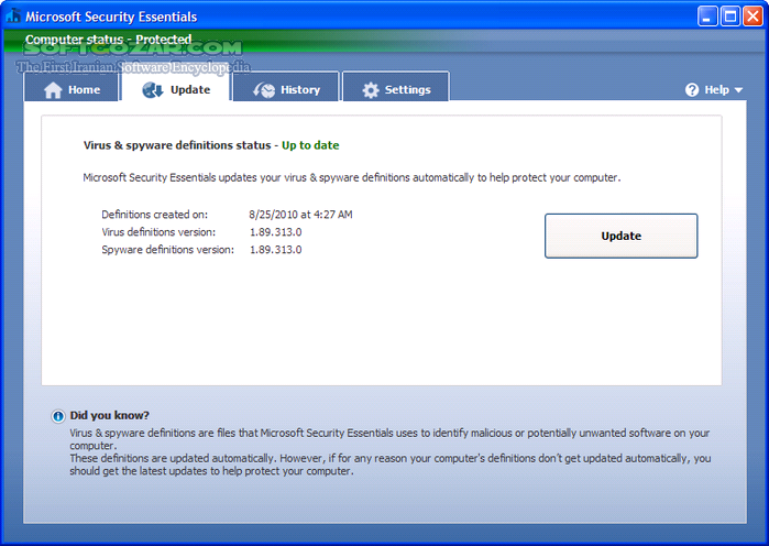 Microsoft Security Essentials 4 10 209 0 Final x86 x64 تصاویر نرم افزار  - سافت گذر