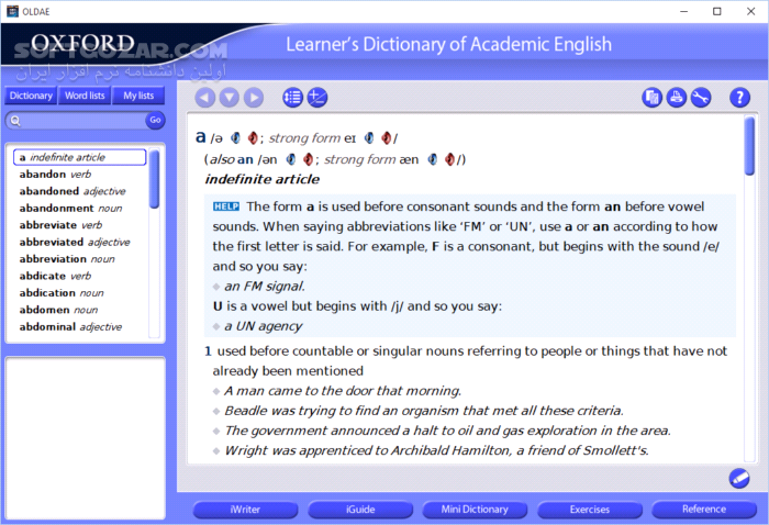 Oxford Advanced Learners Dictionary 9th Edition Learners Dictionary of Academic English with iWriter تصاویر نرم افزار  - سافت گذر