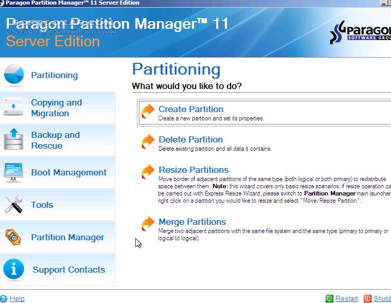 Paragon Hard Disk Manager Advanced 16 23 1 Portable WinPE Edition 15 Premium 10 1 25 1125 BootCD Mac 1 3 873 تصاویر نرم افزار  - سافت گذر