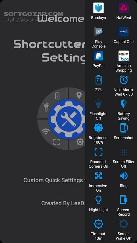 Shortcutter Quick Settings​ Sidebar Premium 6 6 8 For Android 6 0 تصاویر نرم افزار  - سافت گذر
