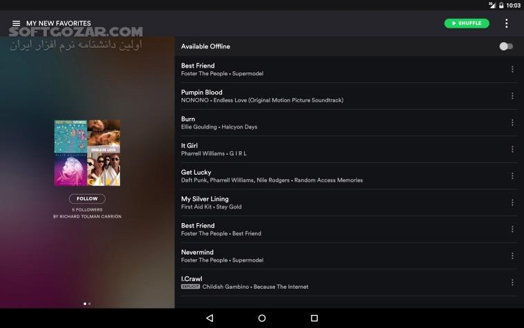 Spotify Music 8 5 24 762 For Android 4 0 3 تصاویر نرم افزار  - سافت گذر