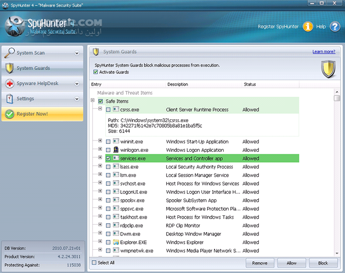 SpyHunter Malware Security Suite 4 27 1 4835 تصاویر نرم افزار  - سافت گذر