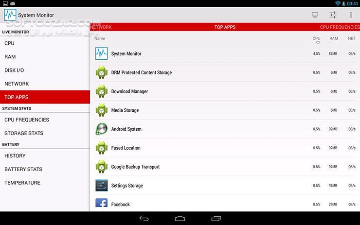 System Monitor 1 7 5 for Android 4 0 تصاویر نرم افزار  - سافت گذر