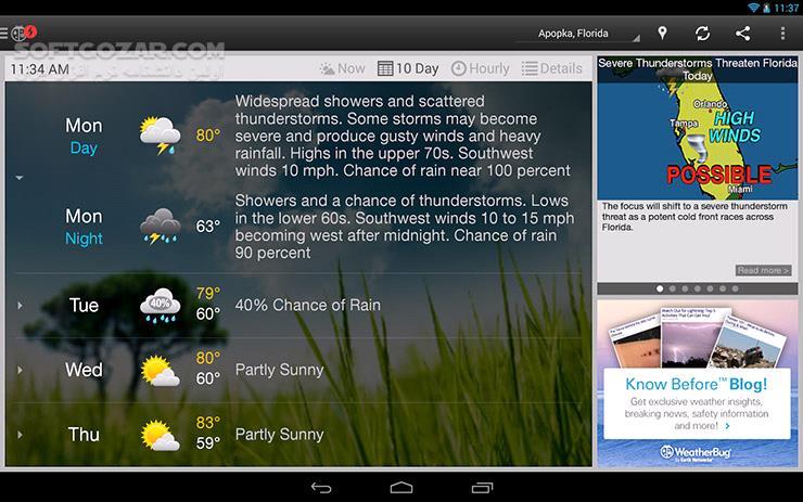 WeatherBug 5 13 3 for Android 4 1 تصاویر نرم افزار  - سافت گذر