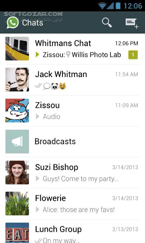 WhatsApp Messenger 2 19 332 for Android 4 0 تصاویر نرم افزار  - سافت گذر