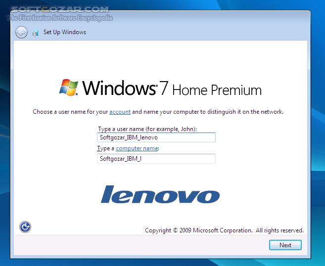 Windows 7 Home Premium x86 IBM Lenovo تصاویر نرم افزار  - سافت گذر