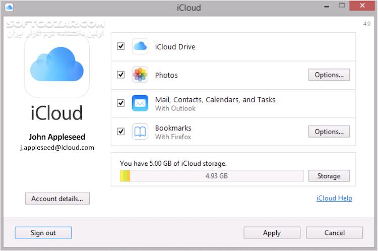iCloud for Windows 7 13 0 14 تصاویر نرم افزار  - سافت گذر