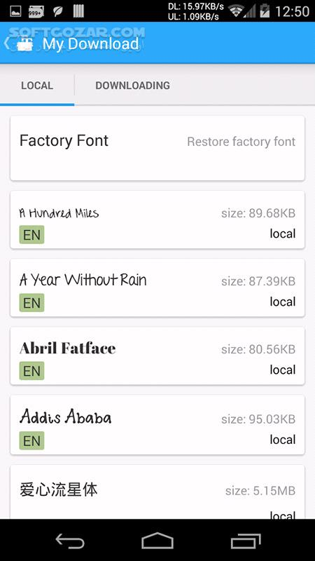 iFont 5 9 8 4 for Android 2 3 تصاویر نرم افزار  - سافت گذر